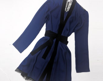 Iris robe in navy blue silk - kimono robe luxury loungewear, 100% silk georgette robe navy royal blue black, French lace applique all sizes