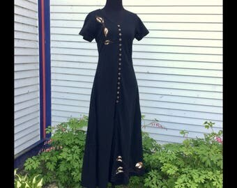 Night Vines Dress - 5 Sizes Fair Trade Cotton Maxi Dress dress, women's clothing, black dress, ankle length, Ancestry Cloth, wearable art
