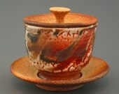Lidded Cup and Saucer, woodfired stoneware w/ crawling shino, tenmoku and natural ash glazes