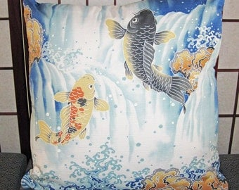 Koi and Waterfall Design Zippered Japanese Furoshiki Pillow Cover Royal Blue