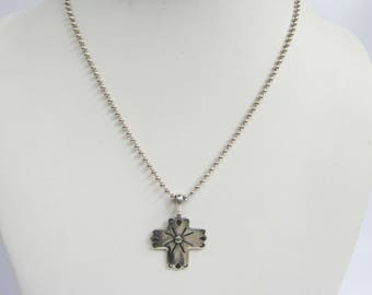 Sterling Silver Ball Bead Chain Necklace with Stamp Work Cross Pendant      1518C