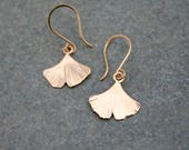 gold ginkgo leaf earrings, petite 14k gold leaf dangle earrings, handmande ginkgo jewelry, Rachel Wilder Handmade Jewelry
