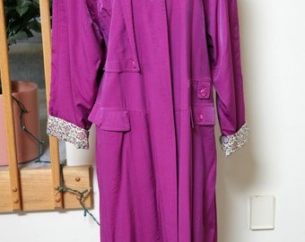 Ladies Long Fuscia Lightweight Coat, Long Pink Jacket, Belted Coat, Ankle Length Dressy Coat, Size 4 Ladies Overcoat