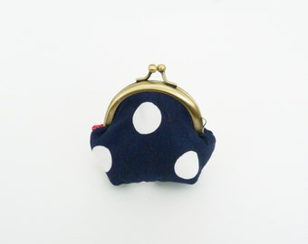 Coin purse, navy blue and white oversize polka dot fabric, cotton purse