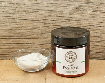 Face Mask | Clay Mask, Natural Skincare, Natural Facial, Skin Care, Girlfriend Gift, Gift Idea for Her | Powdered Clay Mix | Cucumber Mask