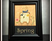 Spring Primitive Sheep Bunny 5x7 Framed Home Decor Wall Art
