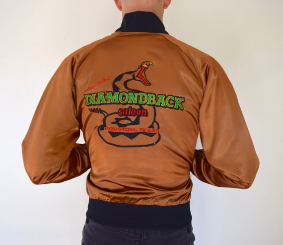 SPRING SALE/ 20% off Vintage 70s 80s Diamondback Saloon Copper Nylon Satin Embroidered Bomber Jacket (size small, medium)
