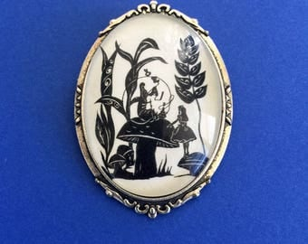 Sale 20% Off // ALICE'S ADVENTURES in WONDERLAND Brooch - Advice from a Caterpillar - Silhouette Jewelry // Coupon Code SALE20