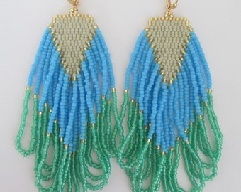 Seed Bead Fringe Earrings - Blue/Green