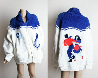 Vintage 1950s Cowichan Novelty Sweater - Rockabilly Swing Dance Design - Blue White and Red Knit Zip Up Sweater - Mens L Women XL Plus Size