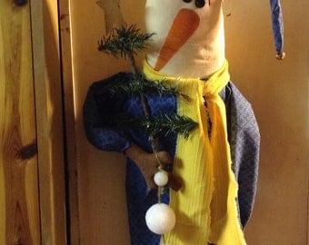Flakey the snowman Primitive snow man door hanger snowball garland & christmas tree