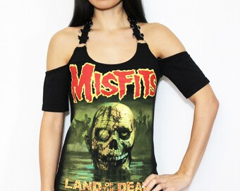 Misfits shirt heavy metal tank top gothic clothing alternative apparel reconstructed rocker clothes altered band tee t-shirt