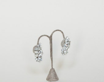 Vintage Weiss Earrings --- 1950s Rhinestone Earrings
