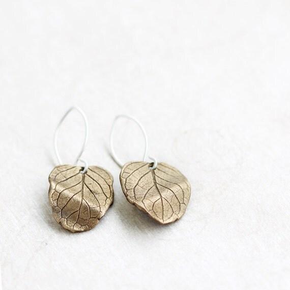Bronze leaf earrings, bronze & sterling silver, mentha