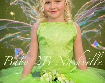 Tinkerbell Inspired Costume Dress Halloween Green Fairy Costume Dress  Costume Birthday Dress Tinkerbell Toddler Tutu Costume Girl Costume