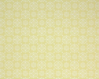 1960s Vintage Wallpaper by the Yard - White and Gray Geometric on Yellow