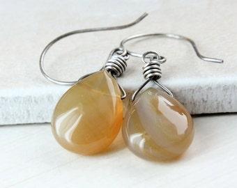 Agate  Earrings Sterling Silver Oxidized Silver Golden Gemstone Jewelry Brown Stone Earrings Yellow Bohemian  Jewelry Wire Wrapped