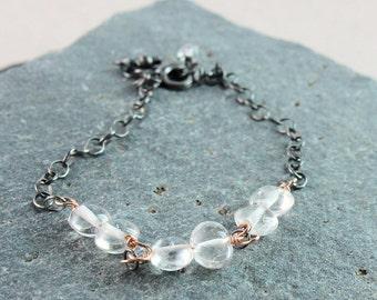 Clear Quartz Bracelet  Gemstone Jewelry April Birthstone Two Tone  Red Gold  And Silver   Rock Crystal Bracelet