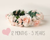 Flower girl crown, Pink rose floral wreath, Toddler Photo Prop, Photography prop, Baby floral headband (12+ months)