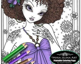 """Digital Download Coloring Page """"Flower Power"""" Myka Jelina Art Mandala Hippie Flower Child Zen Bohemian Fairy"""