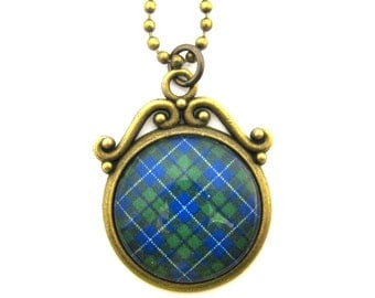 Scottish Tartan Jewelry - Ancient Romance Series - Douglas (Green) Clan Tartan Ornate Swirl Reversible Necklace w/Floral Detail