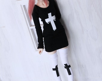 MSD BJD dollfie clothes White Cross print thigh high socks stockings MonstroDesigns Ready to ship