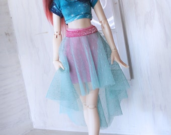 Doll MSD Minifee BJD clothes Multi color Mint with pink glitter waist hi-low skirt set MonstroDesigns Ready to Ship