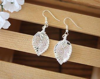 Silver Leaf Rose Earrings, Real Leaf Earrings, Rose Leaf, Sterling Silver Leaf, LESM161