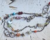 Double Strand Bracelet - Mixed Stone Bracelet - Oxidized Sterling Silver Link Bracelet - Multi Color Bracelet - Dainty Bracelet
