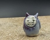 purple owl plant watcher - original porcelain art