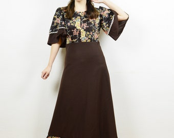 70s maxi dress, boho maxi dress, angel sleeves, brown boho dress, 70s boho dress, floral maxi dress, floral boho dress, hippie dress