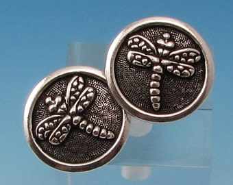 TierraCast Dragonfly Button, Antique Silver, 2-Pc. TS118