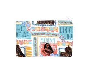 CHOOSE SIZE Moana Zipper Pouch / Disney Moana Maui Bag / Explore Oceania