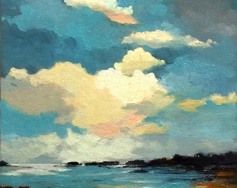 SAFE HARBOR, oil painting, landscape painting, original oil, 100% charity donation, stretched canvas 8x10 clouds,