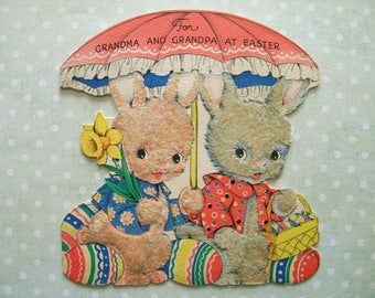 Vintage Flocked Easter Card Two Bunny Rabbits with Umbrella