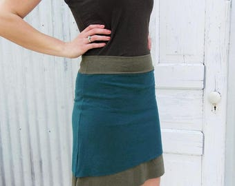 Short Layered Hemp Skirt - Two Toned Short Skirt - Made  from Hemp & Organic Cotton Lycra Jersey - Custom Made in the USA by Yana Dee