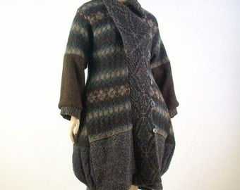 Upcycled Balloon Coat Sweater Coat/ Brown Wool/Size Medium/Large US 10- 12-14/Reconstructed Clothing/Brenda Abdullah
