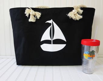 Extra Large Beach Bag Zippered Beach Bag Canvas Beach Bag
