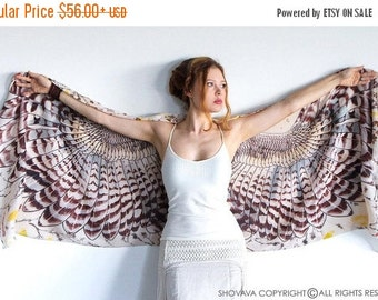 Owl Wings Scarf, Bird Wings Scarf, Owl Wings Large Shawl, Tribal Scarf, Sarong Wrap, Oversized Scarf, Owl Gifts, Valentines Day Gift