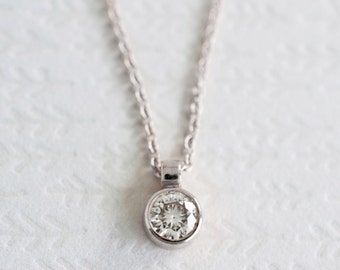 14k Gold Moissanite Necklace | 4mm Moissanite Solitaire Pendant | gift fot her | rose gold white gold recycled gold | Ships fast
