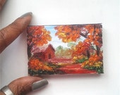 """Mini Oil Painting House in Fall Woods 2""""x 3"""" READY to SHIP"""