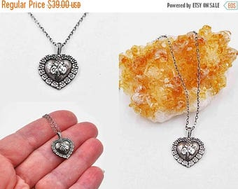 ON SALE Vintage Sterling Silver Heart Pendant Necklace, Franklin Mint, Flowers, Floral, Posies, 3D, Dated 1991, Signed Fm, So Lovely! #b911