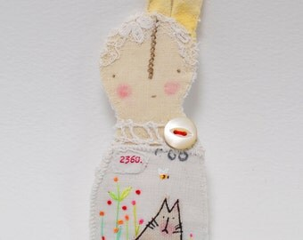 BROOCH or Pin - hand stitched bunny prim 'Little Folk' character - ooak