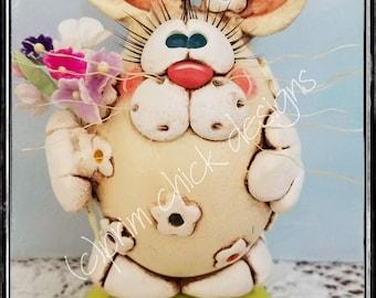 BLOSSOM Easter Bunny Rabbit egg gourd spring flowers posies daisy bouquet original sculpted prim chick designs lisa robinson ofg teamhaha