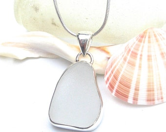 White Sea Glass Pendant | Beach Glass Pendant | Sea Glass Jewelry | Beach Glass Jewelry | Sterling Silver | Wire Wrapped | Pendant