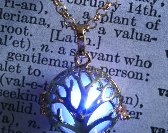 Glowing tree of life pendant glowing tree necklace glowing tree jewelry - Golden locket with glowing Orb - Valentine Gift for her - Blue LED