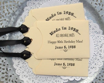 Adult Birthday Favors |  Adult Party Favor | 80th Party Favors  | Lotto Ticket Favors | Birthday Lottery Favors | Milestone Birthday Favors|