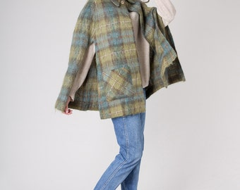 MOHAIR CAPE poncho Cardigan plaid wool vintage Scarf shawl pockets women / Free Size / better stay together