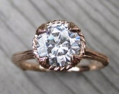 Moissanite Twig Engagement Ring: Carved Floral setting, Colorless 1.5ct Forever One ™