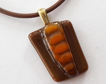 Fused Glass Pendant, Insect Jewelry, Brown Pendant, Caterpillar, Glow Worm, Cocoon, Metamorphosis, Transformation, Handmade in USA